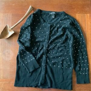 Beaded snap front cardigan
